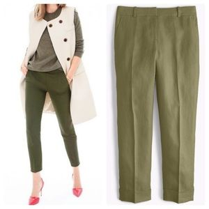 NWT J. Crew Rhodes Crop Pants In Olive Green